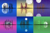 Set of night cityscape generated textures — Stock Photo