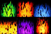 Set of burning fire generated textures — Stockfoto