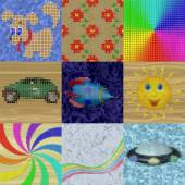 Set of pixelated image generated textures — Stock Photo