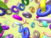 Flying rings generated 3D background — Stock Photo