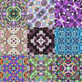 Set of glass mosaic kaleidoscopic seamless generated texture — Foto de Stock