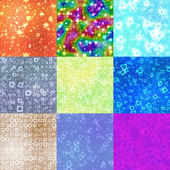 Set of neon shape symbols generated seamless textures — Stockfoto