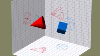 Descriptive geometry 3D projection seamless loop video — Stock Video
