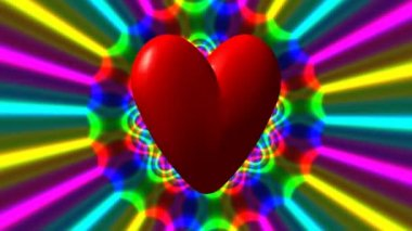 Love heart with rainbow waves seamless loop fullhd video — Vídeo stock
