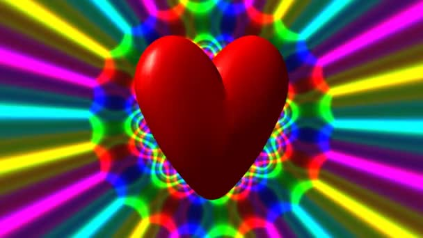 Love heart with rainbow waves seamless loop fullhd video — Vidéo