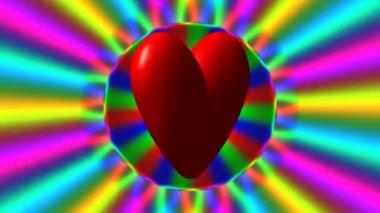 Amor corazón con bucle sin interrupción de ondas de arco iris video — Vídeo de Stock