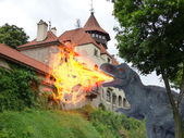 Firewall monster attacking stronghold castle — Stock Photo