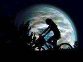 Bicycle night rider — Stock Photo