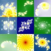 Set of fractal floral patterns — Stock Photo