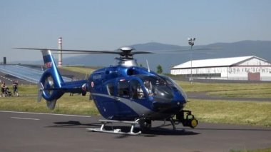 Most, Czech Republic - June 8, 2014: Taking off police helicopter on presentation event in Most — Stock Video