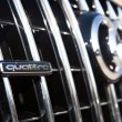 Постер, плакат: MALAGA SPAIN DECEMBER 2 2015: AUDI quattro car logo in the front of car grid