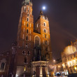 Mariacki church in Krakow, Poland. Night shoot — Stock Photo #69326843