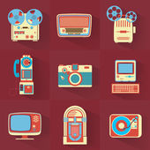 Collection of Vintage Electronics — Stock Vector