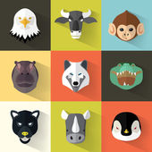Animal Portrait Set with Flat Design — Stock Vector