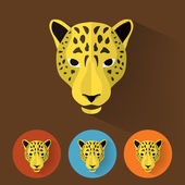 Animal Portrait with Flat Design - Leopard — Stock Vector