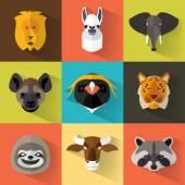 Zvířecí portrét s plochý design — Stock vektor