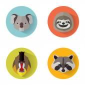 Animal Portrait Set with Flat Design — Stock Vector