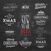 Christmas Typographic Background Set — Stock Vector