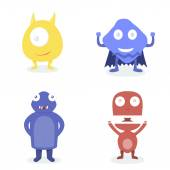 Cartoon funny cute monsters. — Stock Vector