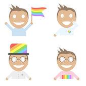 Quatro vector conjunto de desenhos animados do personagem gay. — Vetor de Stock