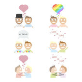 Happy gay couple set of characters. — Stock Vector