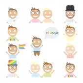 Gay set of happy cartoon characters. — Stock Vector