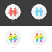 Pictogram set of gay and lesbian couples. — Stock Vector