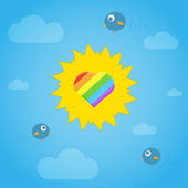 Sun with gay heart and birds in sky. — Stock Vector