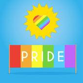 Eşcinsel kalp ile güneş ve gurur bayrak olayı için — Stok Vektör