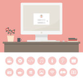 Modern workplace of freelancer. — Stock Vector
