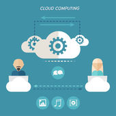Cloud computing concept of sharing by users. — Stock Vector
