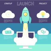 Launch start up concept with rocket. — Stock Vector