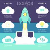 Start up concept infographic with space ship. — Stock Vector