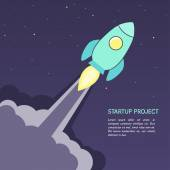New business start-up project concept rocket — Stock Vector