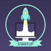 Rocket icon in flat modern design. — Stock Vector