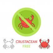 Crustacean free - icons for restaurant — Stock Vector