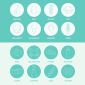 Product allergies icons. — Stock Vector