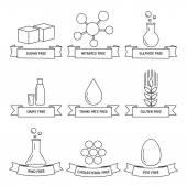 Potraviny dietní osnovy kolekce lineární ikon. — Stock vektor