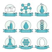 Food diet, product allergy set of icons. — Stock Vector