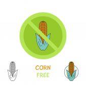 Allergy icons - corn free. — Stock Vector