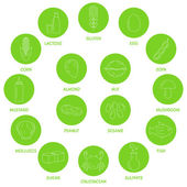 Sada potravinové alergie symboly, značky, ikony. — Stock vektor