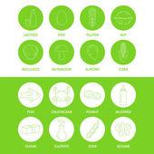 Allergen symbols information — Stock Vector