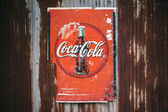 CHIANG MAI,THAILAND -AUG 23: Old rust condition vintage of Coca Cola logo. — Stock Photo