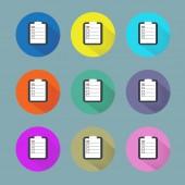 Clipboard and checkmark icon set — Stock Vector