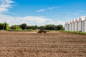 Tractor working in field agriculture. — Stok fotoğraf