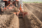Tractor preparation soil working in field agriculture. — 图库照片