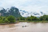 Nam Song river in Vang Vieng, Laos — Stock Photo