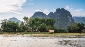 Landscape and mountain in Vang Vieng, Laos. — Stock Photo