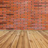 Red brick wall and wood perspective background. — Foto de Stock