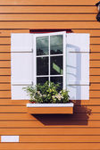 White window open and flower at house — Stock Photo